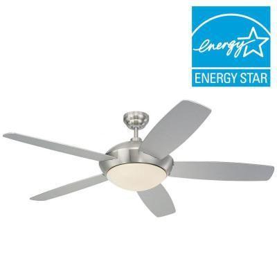 Sleek 52 in. Brushed Steel Silver Ceiling Fan