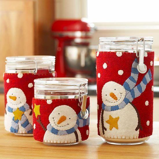 Adornar los tarros de cocina - Snowman Canister Covers