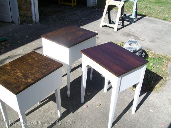 old sewing cabinets made into great new side tables
