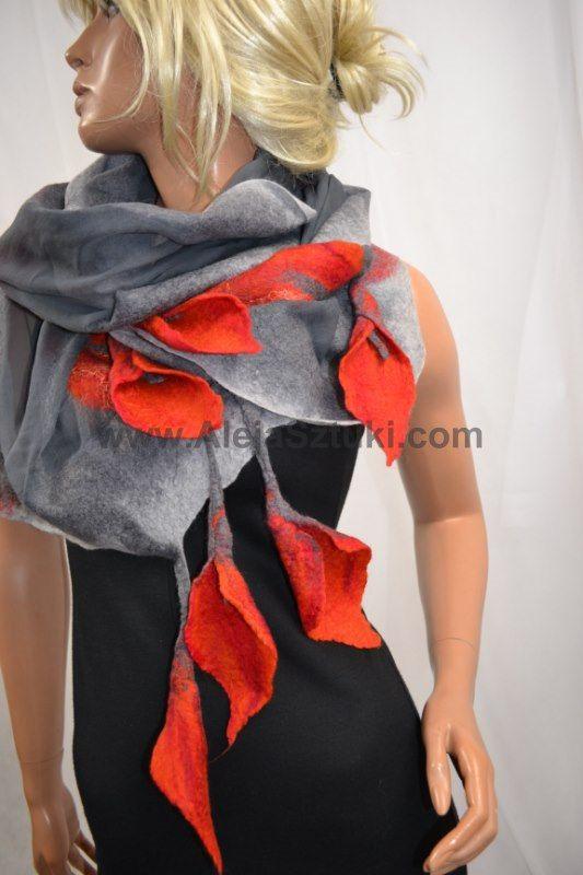 Nuno felted silk shawl. Gray silk and orange calla. Nono felting art, organic clothes, 100% natural and unique hand made. Felted cala