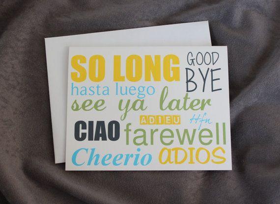 Blank Greeting Card Good Bye Card Going Away Card