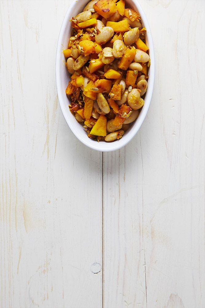 Fagioli bianchi di spagna, zucca, semi di girasole tostati e miglio