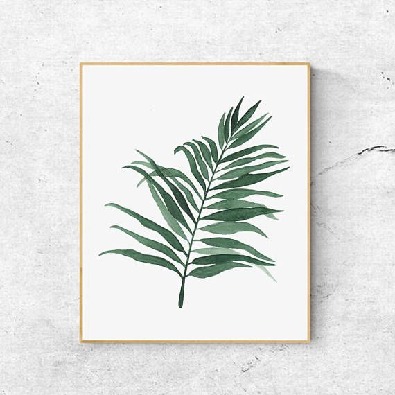 Watercolor Palm Leaves Print Watercolour Leaf Tropical Print