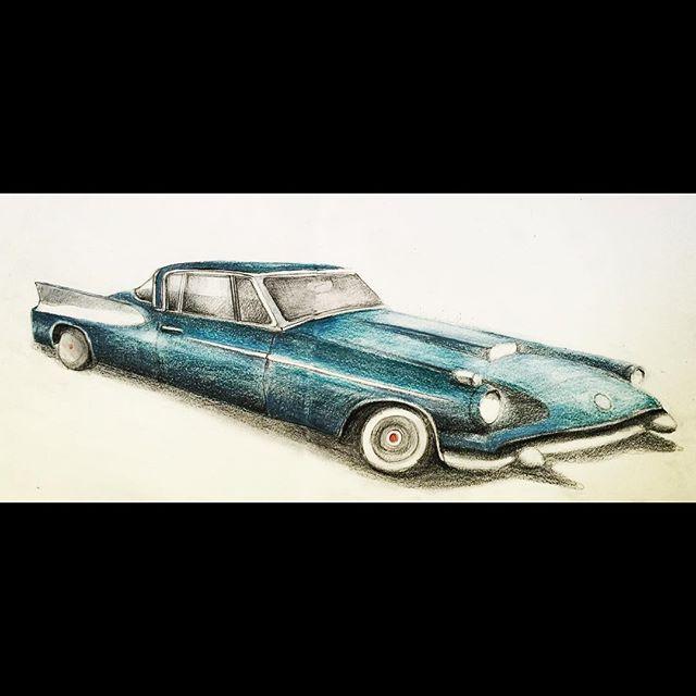 #car #packard #drawing #crayons on #paper #props #metatropolis