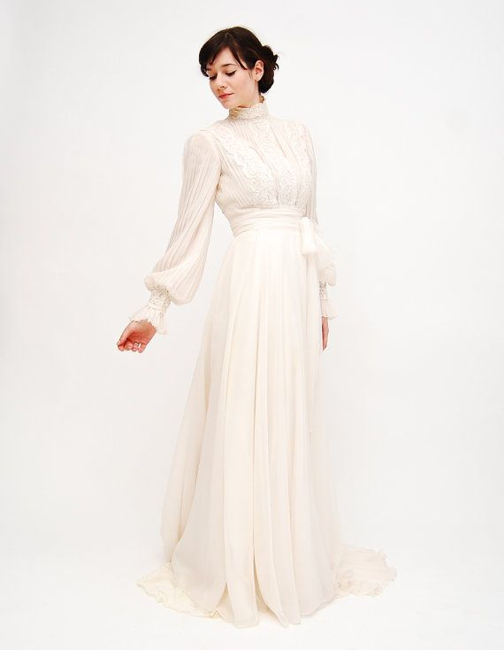 sale  Vintage 1970s Wedding Dress  70s by concettascloset on Etsy