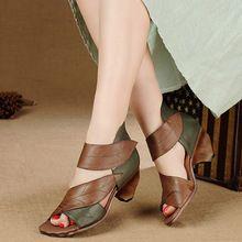 2016 Diseño Original de Las Mujeres Sandalias De Tacón Bajo Peep Toes de Color Mezclado Zapatos Verano de Las Mujeres de Cuero Genuino Sandalias Casuales(China (Mainland))