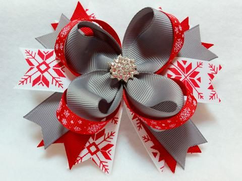 """Approximately 5"""" Boutique Stacked Loopy Hair Bow Spiked Pinwheel Base Starburst Crystal Embellishment Red/White Holiday Snowflake, Silver and Red Grosgrain Ribbon Covered and lined alligator clip This"""