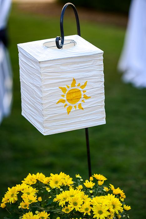 Tangled inspired lantern ceremony decor at a Walt Disney World wedding