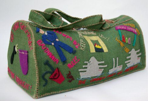 * English home made burlap and felt knitting bag with wartime patriotic slogans, c. 1942 - 1945