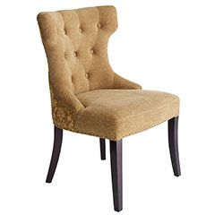 Gold Damask Dining Chair -- Tufted finish with nail head finishing