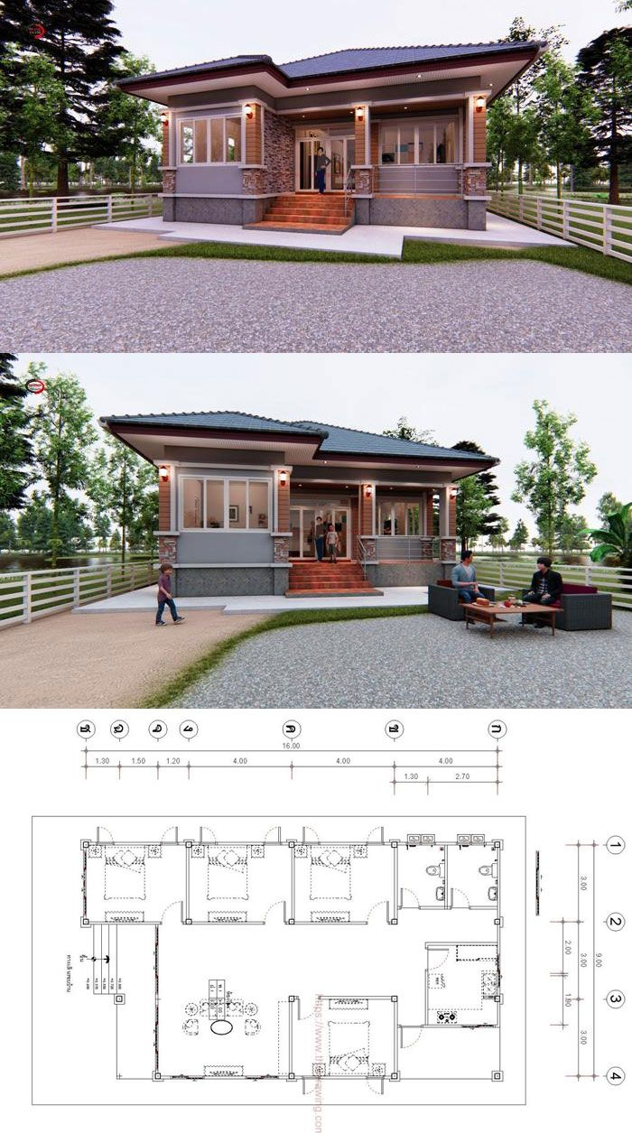 Elongated Bungalow Design With Four Bedrooms Applicable To Elongated And Narrow Lots Ulric Home Bungalow Design My House Plans Modern Bungalow House