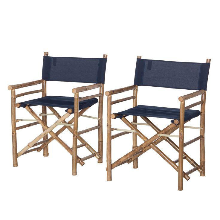 Regiestoelen Bamboo II (2-delige set) - massief bamboehout/textiel - marineblauw