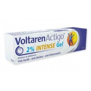 VOLTARENACTIGO INTENSE gel 2 % boîte 1 tube 30 g est indiqué comme traitement local de courte durée chez l'adulte et l'adolescent de plus de 15 ans, en cas de traumatisme bénin, entorse (foulure), contusion. VOLTARENACTIGO INTENSE est dosé à 2% et est préconisé pour l'arthrose.