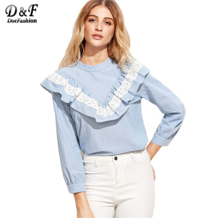 Long Sleeve Blouse Women Shirt Women Tops and Blouses Ladies Tops Blue Vertical Striped Lace Trim Ruffle Blouse