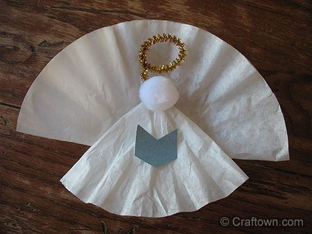 christmas angel crafts for kids | Angel crafts | Coffee Filter Angel