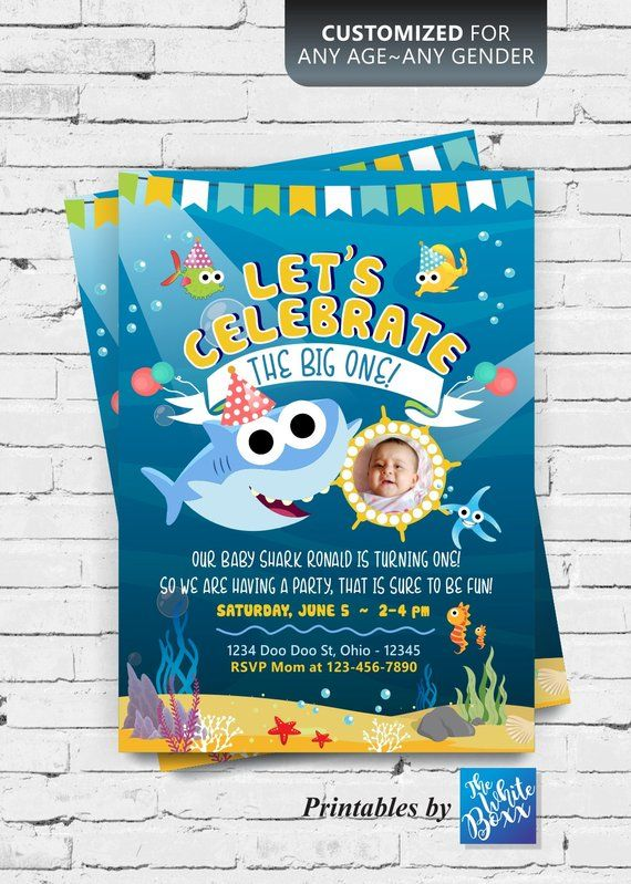 Baby Shark Birthday Invite Invitation For Boy