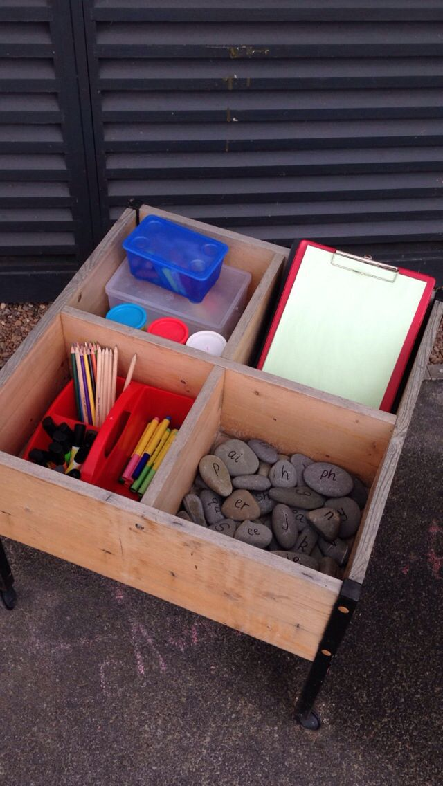 Outside mark making trolley for Year One - chalk, clipboards, paper, felt tips etc and pebbles with phonics sounds on them!