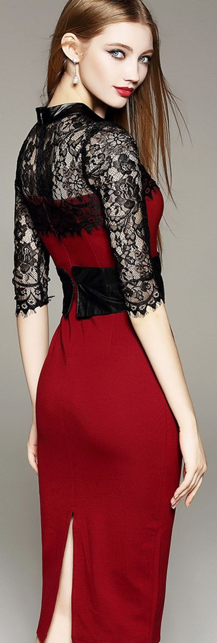 Red Empire Waist Lace Dress