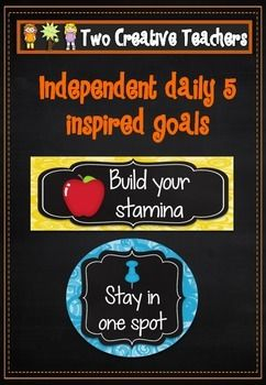 These cards can be used for display in a classroom. They can also be used to set goals. They are perfect for anyone doing the daily 5 or independent student work. Each design comes in a circular, rectangular and square design. The cards include get started straight away, build stamina and more goals that can be used to remind students of the learning expectations when working independently. #twocreativeteachers # daily5  #independentwork