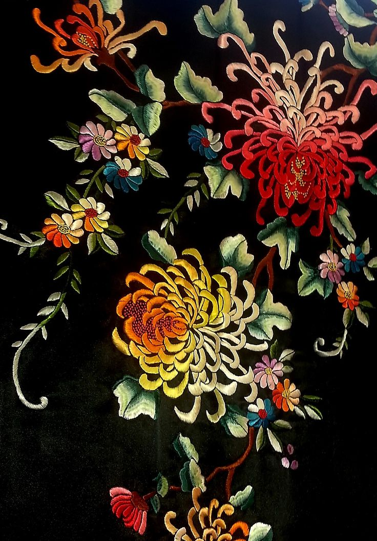 Stunning intricate embroidery on a Japanese Kimono