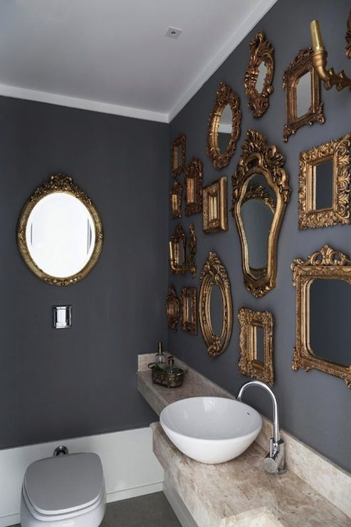 Gray and gold. Antique frames morphed into modern sculptural installation.
