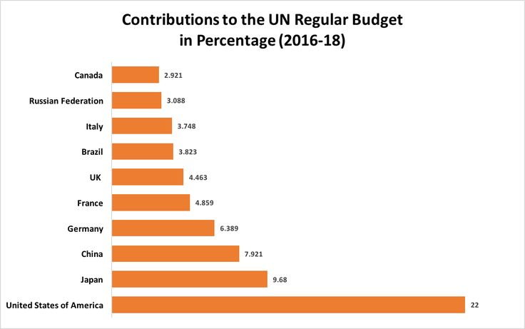 How much do various countries contribute to the UN Budget?