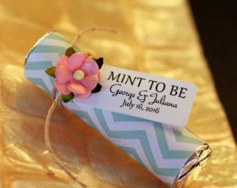 "Mint wedding favors - Set of 100 mint rolls - ""Mint to be"" favors with personalized tag - mint chevron, personalized mint favors"
