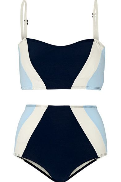 Flagpole Swim's 'Perry' bikini is strategically color-blocked to flatter your silhouette. Made from quick-drying four-way stretch fabric, this style has adjustable straps and removable padding for support. We love the sculpting shape of the '70s-inspired high-rise briefs.
