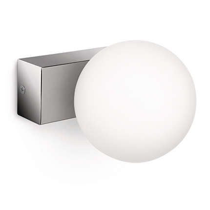 En enkel och snygg badrumslampa med en bas i kromad metall och en rund, vit glaskupa. Sprider ett bra ljus till badrummet och kan monteras både horisontellt och vertikalt. Dimbar halogenlampa från Philips ingår.