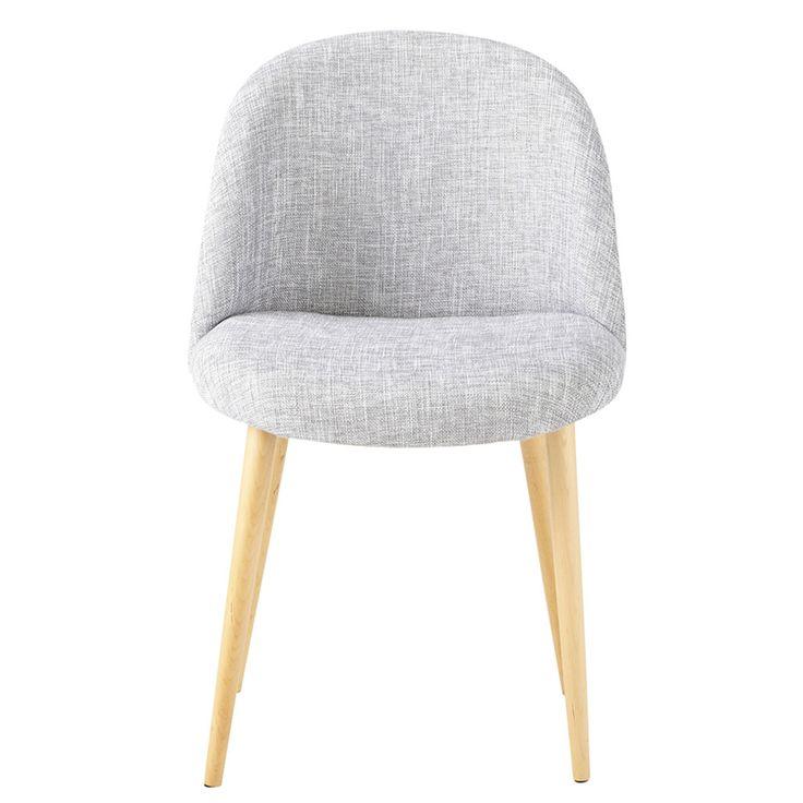 Stuhl im Vintage-Stil aus Stoff und massiver Birke, hellgrau meliert