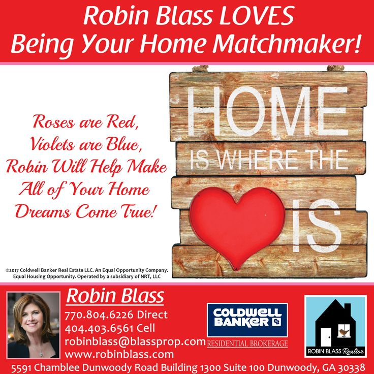 One of two Valentines ad designed for real estate agent Robin Blass of Coldwell Banker. This is for print and web.