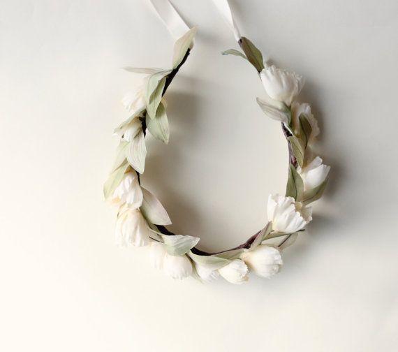 Ivory Flower crown Bridal head wreath Boho wedding by whichgoose