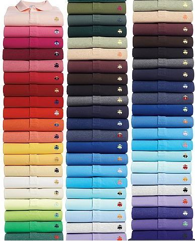 Taking buying a staple in multiple colours a little too far: the Brooks Brothers boxed set of 44 (!!!) polos, all in different colors. $2000
