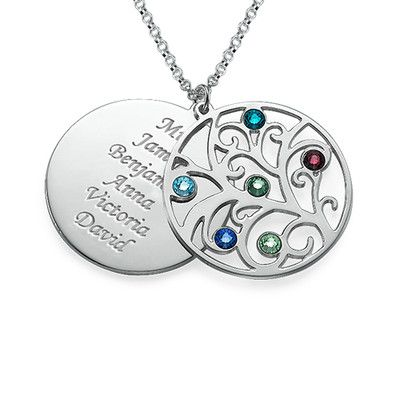 Favorite family one. Filigree Family Tree Birthstone Necklace | MyNameNecklace