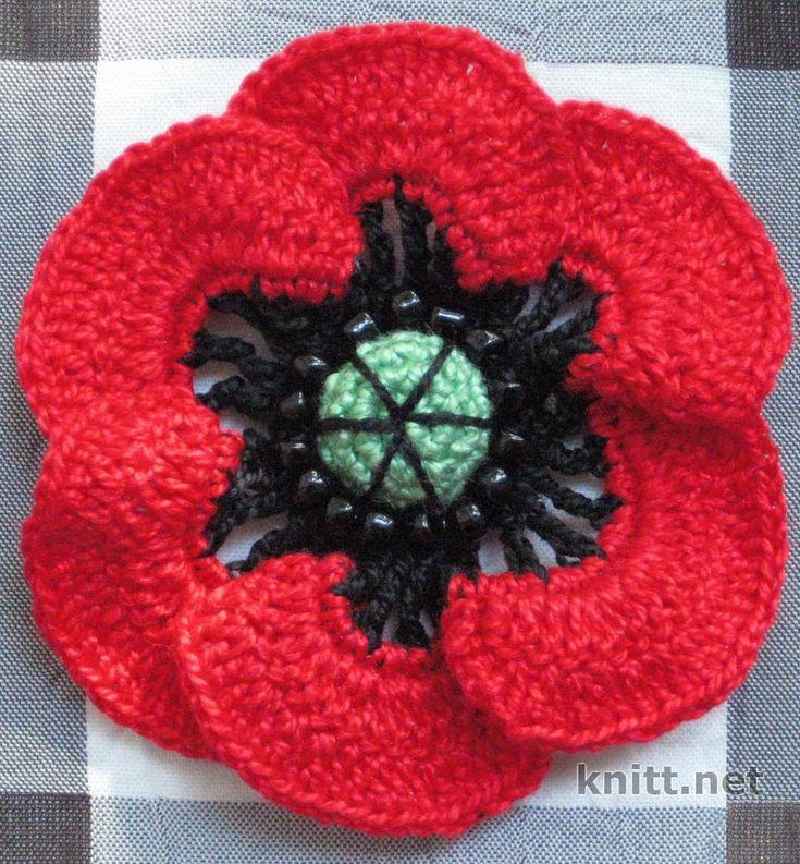Цветок-мак крючком | knitt.net | Все о вязании
