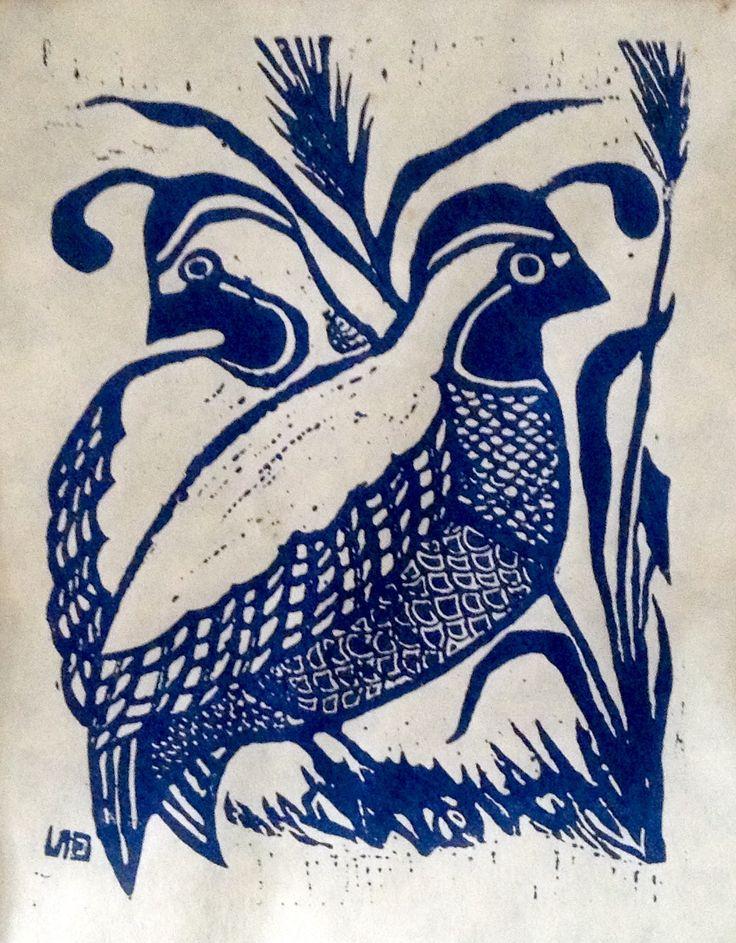 Quail Linocut Print by Emilie Munsch.