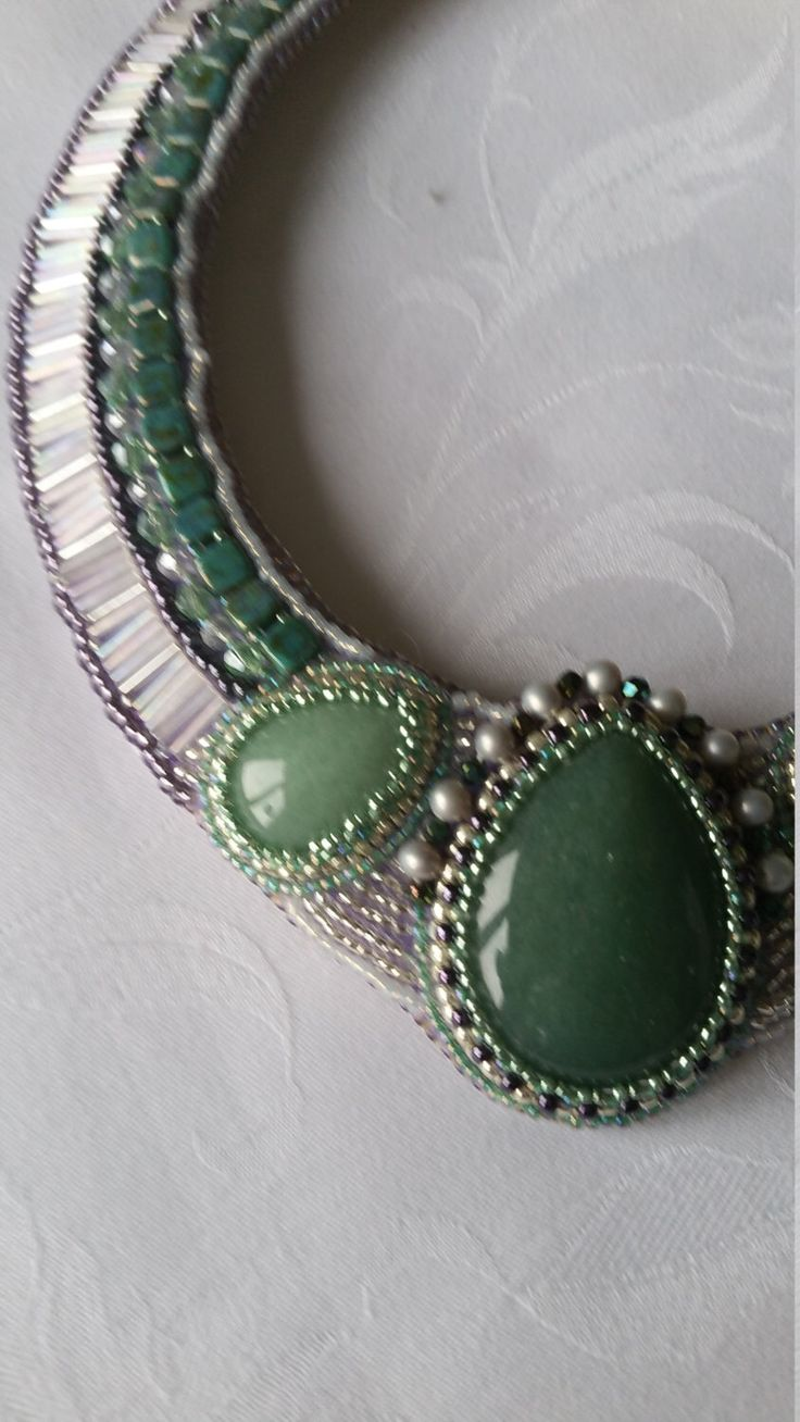 Embroidered necklace with aventurine and toho beads and leather. A personal favourite from my Etsy shop https://www.etsy.com/listing/266255240/aventurine-necklaceembroidered-necklace