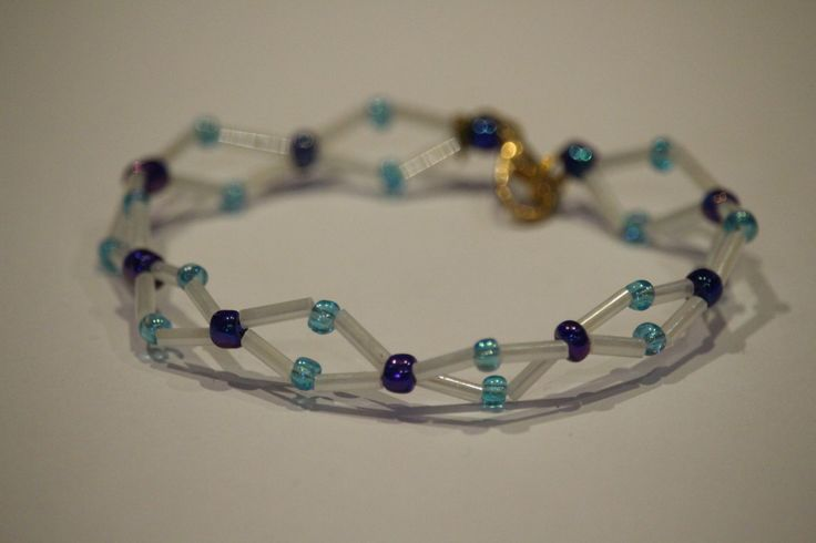 blue and white wire bracelet by 1OfakindHomemade on Etsy