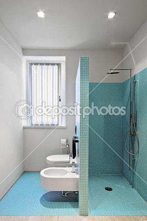 gemauerte dusche im modernen badezimmer stockbild 11715160 - Gemauerte Dusche Licht