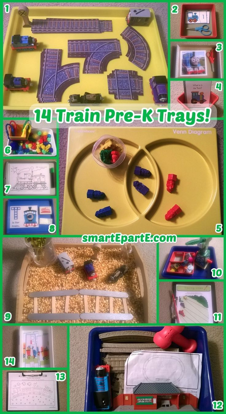Choo Choo! Our 3.5 year old had a blast with these 14 Train Preschool Trays! He liked the printable train tracks from @soheresmylife so much!