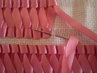 braided ribbon on aida cloth