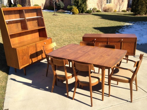 9 PC Danish Mid Century Modern Drexel Declaration Kipp Stewart Dining Set Part 10