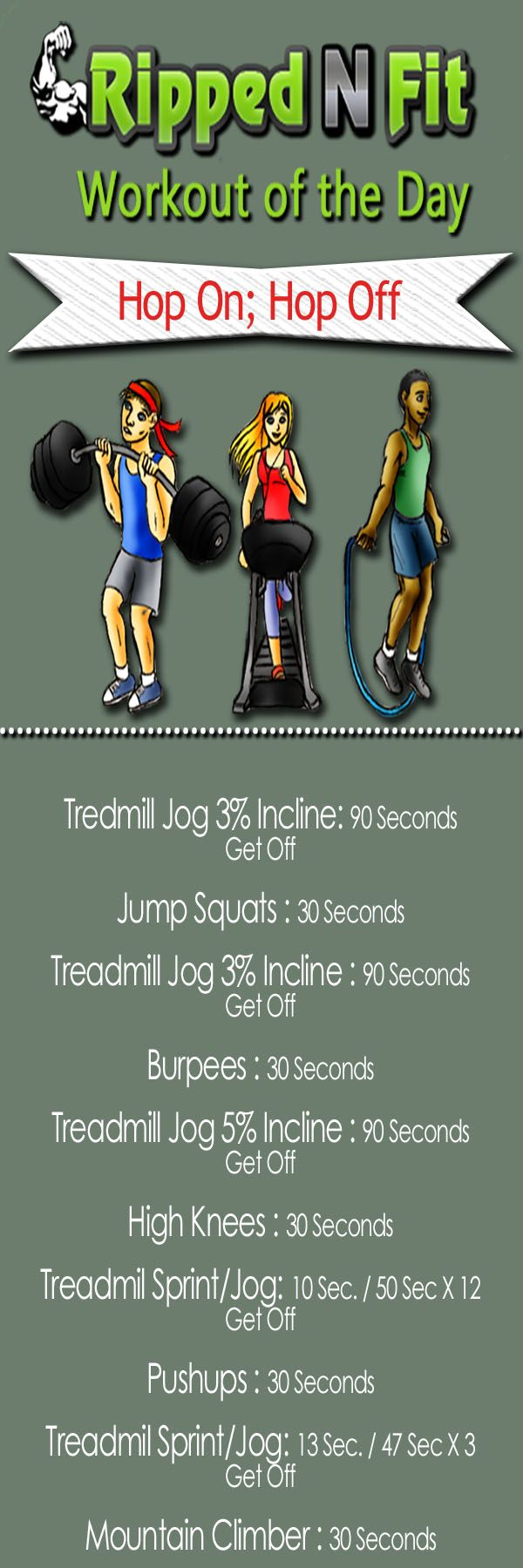 Today's workout is a combination of cardio and calisthenics. If you think the treadmill is boring wait til you try this one. You will simple follow the protocol, hop off do the bodyweight exercise, then hop back on the treadmill! Workout of the Day Posts You May LikeWorkout of the Day: Reinventing the WheelWorkout of the Day: Muscle HustleWorkout of
