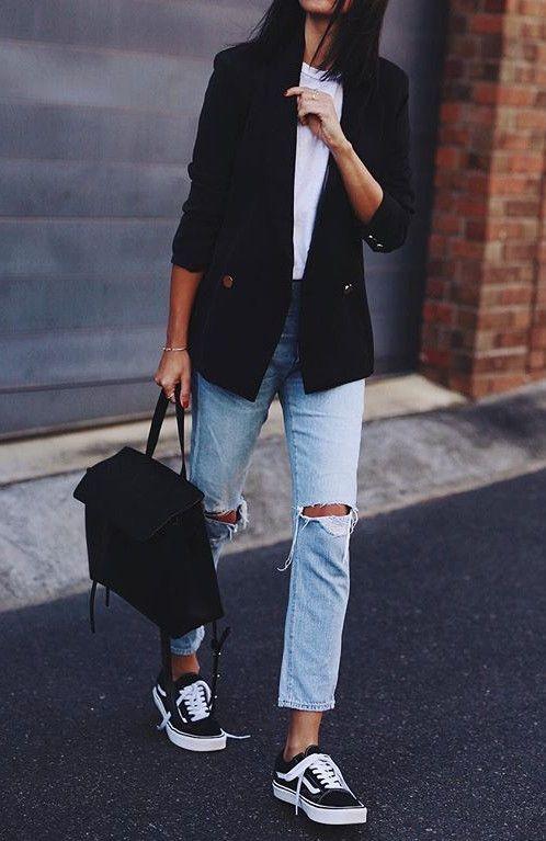 street ankle rips + converse + blazer  