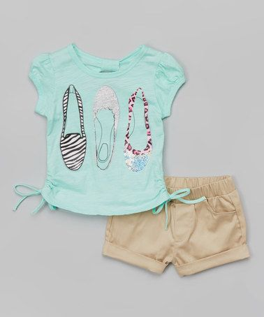 Love this Mint Flats Tee & Tan Shorts - Toddler & Girls on #zulily! #zulilyfinds