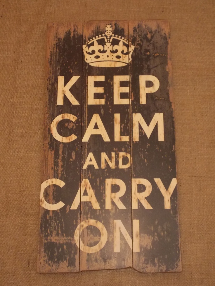 Large Rustic Style Keep Calm and Carry On Wooden Wall Art, £39.95