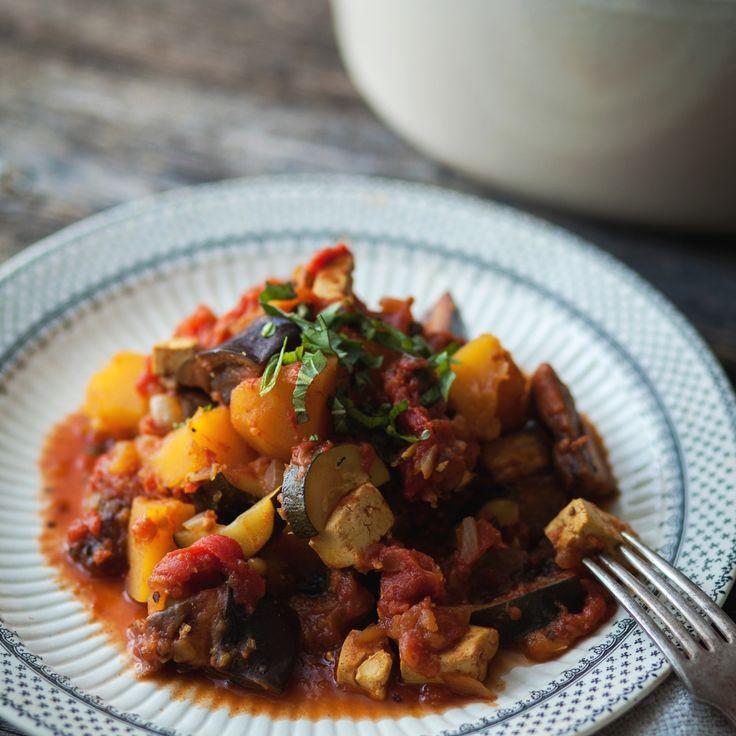 Ratatouille à la courge poivrée, aubergine & tofu  - Recette | Trois fois par jour
