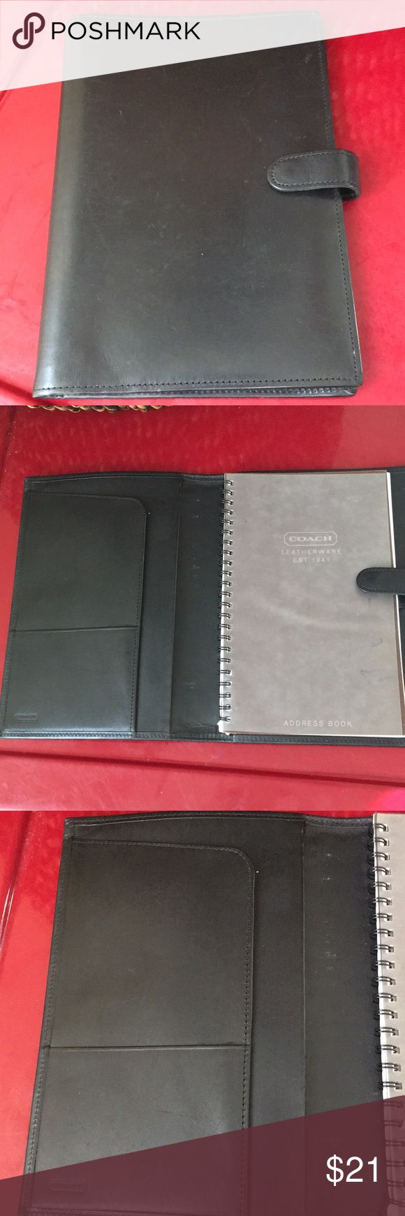 Authentic Coach Black Leather Address Book Good condition - approx. 20 years old - you will need a news address book insert. Has normal wear and tear. Just cleaned and conditioned. You can purchase the address book and calendar online at Coach.com Coach Accessories