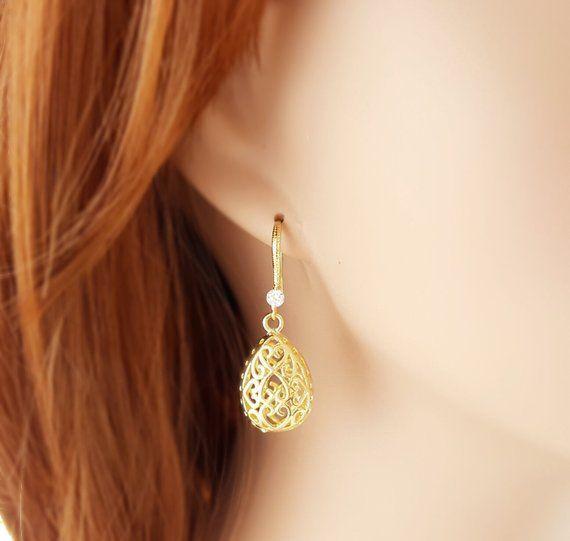 Teardrop Earrings Filigree Earrings Clear Crystal Gold Filigree Teardrop Earrings