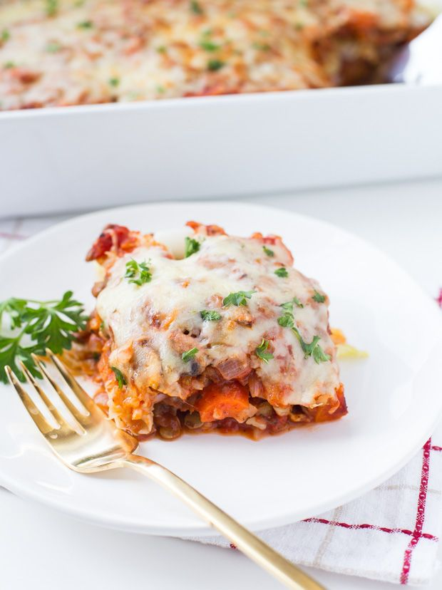 Vegetarian Stuffed Cabbage Casserole- a grain-free casserole that's packed with vegetables and protein! (gluten-free)